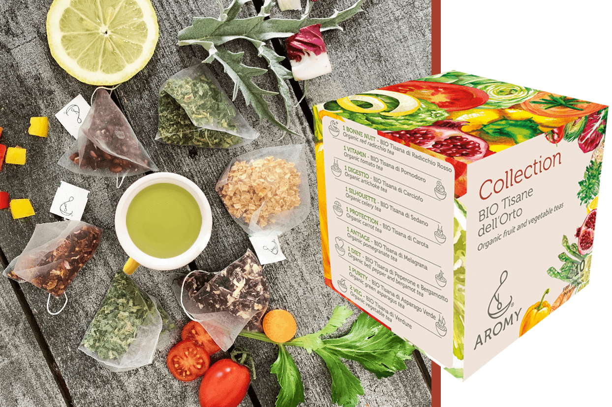 Collection organic fruit and vegetable teas